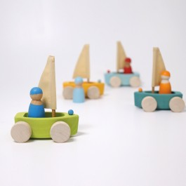 GRIMM´S Kleiner Strandsegler im 4er Set- Holzspielzeug Profi