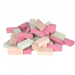 Beck Pastell Uhlbausteine rosa-grün-natur: Mauer - Holzspielzeug Profi