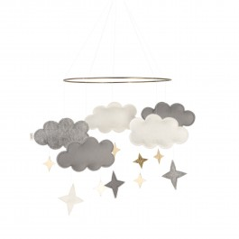 Baby Bello Filz-Mobile Fantasy Clouds Wolken Mobile in Rusty Grey - Holzspielzeug Profi