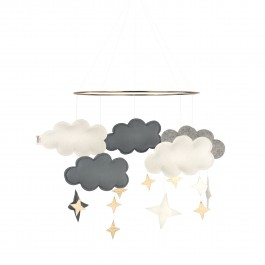 Baby Bello Filz-Mobile Fantasy Clouds Wolken Mobile in Stone Blue - Holzspielzeug Profi