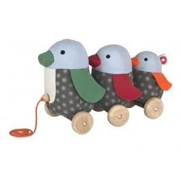 FRANCK & FISCHER Nachziehtier Pingion George mit Familie - Holzspielzeug Profi