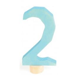 GRIMM´S Zahlenstecker 2 in blau - Holzspielzeug Profi