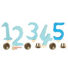 GRIMM´S Zahlenstecker 1-5, blau mit Messinghaltern