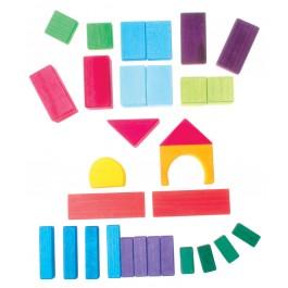 GRIMM´S Geo-Bauklötze bunt (30 Stück) - Holzspielzeug Profi