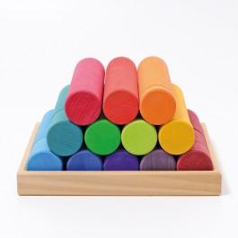 GRIMM´S Große Bauwalzen Regenbogen - Holzspielzeug Profi