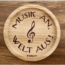 """Holzpost® Untersetzer Bierdeckel """"Musik an, Welt aus!"""" - Holzspielzeug Profi"""