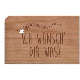 """Holzpost Grußkarte """"Ich wünsch Dir was!"""": Vorderseite - Holzspielzeug Profi"""