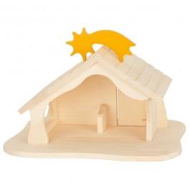 HOLZTIGER Puppenhaus / Weihnachtskrippe / Bauernhof natur: mit abnehmbarer  Sternschnuppe - Holzspielzeug Profi