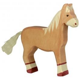HOLZTIGER Pferd stehend, hellbraun - Holzspielzeug Profi