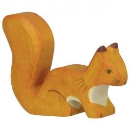 Holztiger Orangefarbenes, stehendes Eichhörnchen - Holzspielzeug Profi