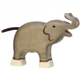 Holztiger Kleiner Elefant mit Kopf und Rüssel nach oben - Holzspielzeug Profi