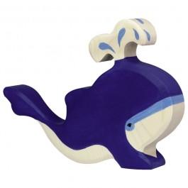 Holztiger Blauwal mit Wasserfontäne - Holzspielzeug Profi