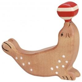 Holztiger Robbe mit Ball - Holzspielzeug Profi