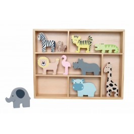 JaBaDaBaDo Setzkasten Regal mit Safari Tieren - Holzspielzeug Profi