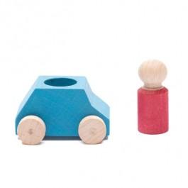 Lubulona Türkises Spielzeugauto mit roter Holzfigur - Holzspielzeug Profi