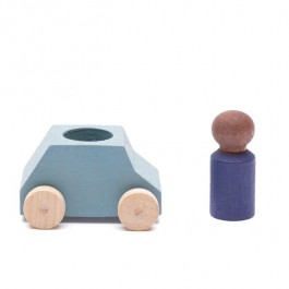 Lubulona Graues Spielzeugauto mit blauer Holzfigur - Holzspielzeug Profi