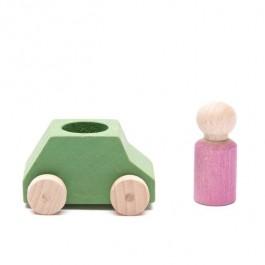 Lubulona Grünes Spielzeugauto mit rosa Holzfigur - Holzspielzeug Profi
