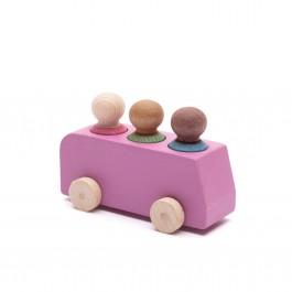 Lubulona Rosa Spielzeugbus mit Holzfiguren - Holzspielzeug Profi