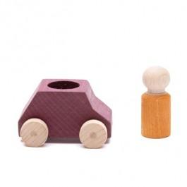 Lubulona Braunes Spielzeugauto mit ockergelber Holzfigur - Holzspielzeug Profi
