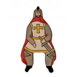 HOLZTIGER Roter Ritter reitend mit Mantel (ohne Pferd) - Holzspielzeug Profi