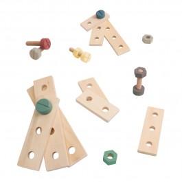 sebra Bau-Spielset mit 21 Teilen in warmgrau - Holzspielzeug Profi