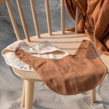Baby Bello Musselin Lätzchen 2er Set Sandy Almond - Holzspielzeug Profi