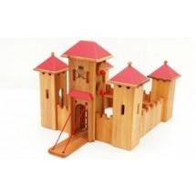 Drewart Ritterburg: Mittelgroßes Schloss mit rotem Dach (neue Version) - Holzspielzeug Profi
