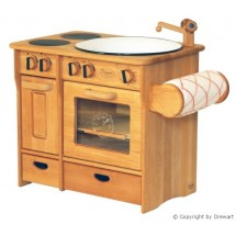 Drewart Kinderküche Kombi natur mit Handtuchhalter - Holzspielzeug Profi