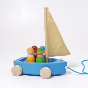 GRIMM´S Großer Strandsegler zum Hinterherziehen - Holzspielzeug Profi