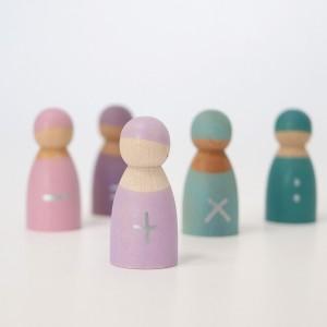 GRIMM´S Regenbogenbande 5 Freunde zum Rechnen: z.B. mit bunten Steinchen - Holzspielzeug Profi