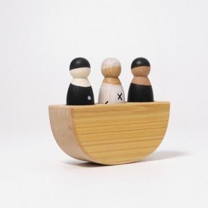 GRIMM´S 3 Männer im Boot monochrom (schwarz-weiß) - Holzspielzeug Profi