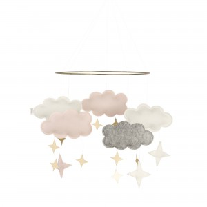 Baby Bello Filz-Mobile Fantasy Clouds Wolken Mobile in Pale Pink - Holzspielzeug Profi