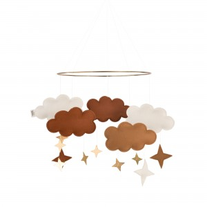 Baby Bello Filz-Mobile Fantasy Clouds Wolken Mobile in Bronze Rust - Holzspielzeug Profi