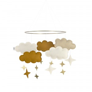 Baby Bello Filz-Mobile Fantasy Clouds Wolken Mobile in Honey Mustard - Holzspielzeug Profi