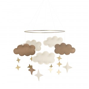 Baby Bello Filz-Mobile Fantasy Clouds Wolken Mobile in Natural Camel - Holzspielzeug Profi