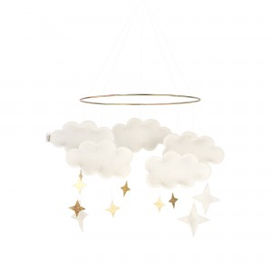 Baby Bello Filz-Mobile Fantasy Clouds Wolken Mobile in Pearl White - Holzspielzeug Profi