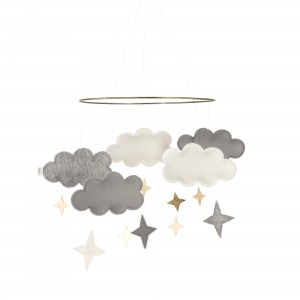Baby Bello Filz-Mobile Fantasy Clouds Wolken Mobile in Rusty Grey - Holzspielzeug Profi