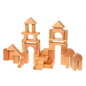 GRIMM´S Geo-Bauklötze natur (60 Stück) - Holzspielzeug Profi