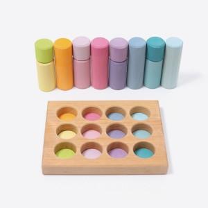 GRIMM´S Steckspiel Kleine Bauwalzen pastell - Holzspielzeug Profi