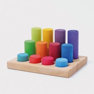 GRIMM´S Steckspiel Kleine Bauwalzen Regenbogen - Holzspielzeug Profi