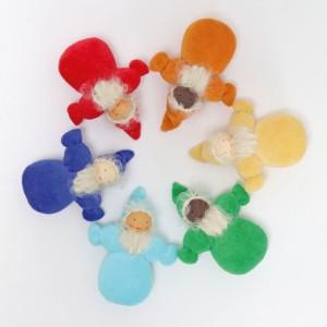 GRIMM´S Taschenzwerge Regenbogen mit Bart: 6 Stück im Set - Holzspielzeug Profi