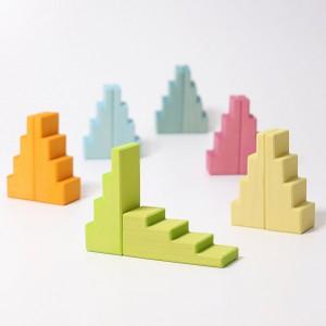 GRIMM´S Treppendächer pastell 3 - Holzspielzeug Profi