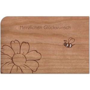 """Holzpost Grußkarte """"Herzlichen Glückwunsch Biene & Blume"""" - Holzspielzeug Profi"""