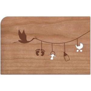 """Holzpost Grußkarte """"Baby Storch & Leine""""- Holzspielzeug Profi"""
