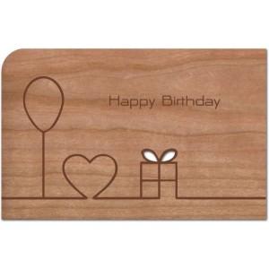 """Holzpost Grußkarte """"Happy Birthday Strich""""  - Holzspielzeug Profi"""