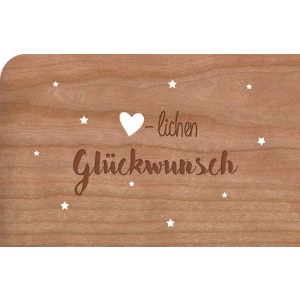 """Holzpost Grußkarte """"Herzlichen Glückwunsch Sterne"""" - Holzspielzeug Profi"""
