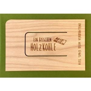 "Holzpost Grußkarte ""Holzkohle - Holzspielzeug Profi"