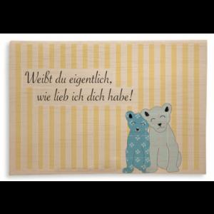 """Holzpost Klappkarte """"Wie lieb ich dich habe"""": Vorderseite - Holzspielzeug Profi"""