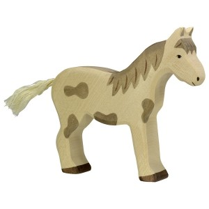 HOLZTIGER Pferd stehend, gefleckt - Holzspielzeug Profi