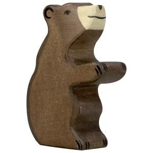 Holztiger Kleiner Braunbär sitzend - Holzspielzeug Profi